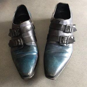 Jo Ghost leather italien buckle gradient blue shoe